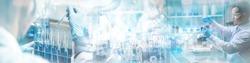 ิBanner panorama background, health care researchers working in science laboratory, medical science technology research work for test a vaccine, coronavirus covid-19 vaccine protection cure treatment