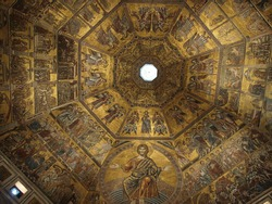 Baptistery of Florence - View of the mosaic ceiling .