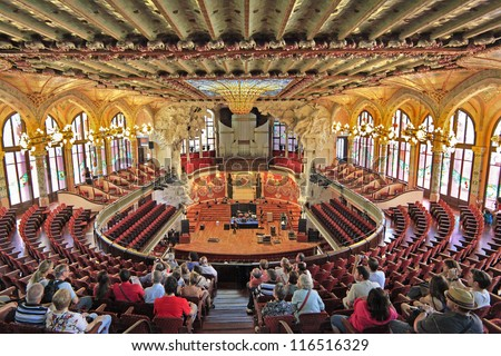 BARCELONA-JUNE 1: The Palau de la Musica Catalana  is a concert hall in Barcelona, built between 1905 and 1908 by the architect Llus Domenech i Montaner,  on June 1, 2012. Barcelona