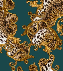 baroque and leopard skin background