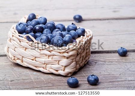 Basket full of fresh blueberries