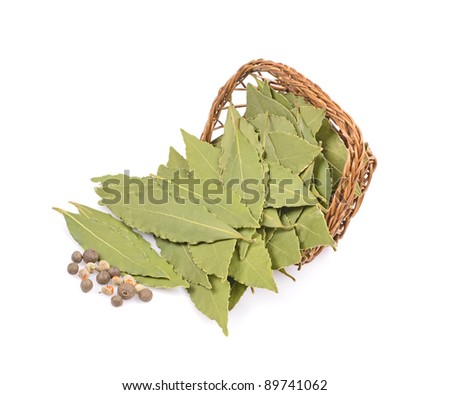 Bay leaf-fragrant culinary seasoning isolated on white background .Basket