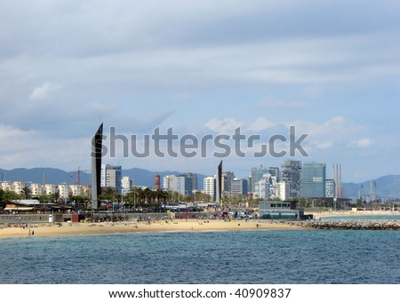 beach and quay of barcelona from mediterranean sea