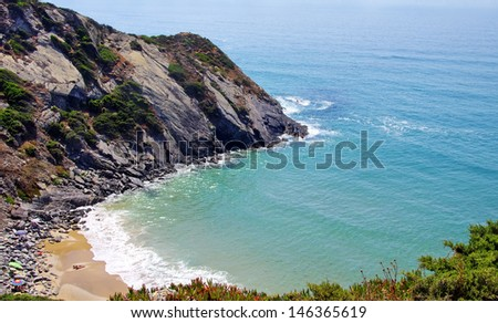 beach in South-West Alentejo and Costa Vicentina - stock photo