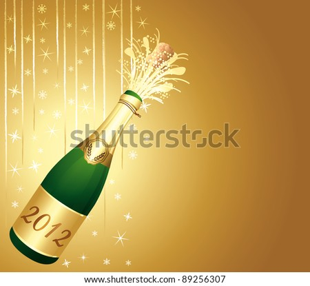 2012 Beautiful and elegant Happy New Year background. Golden greeting card.