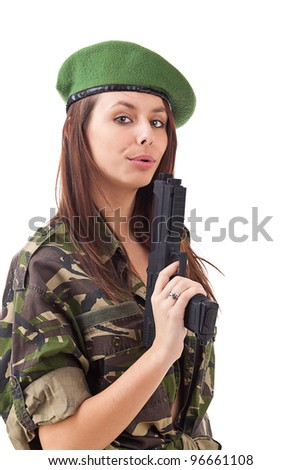 Beautiful army girl with gun isolated on white - stock photo