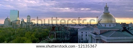 beautiful awe inspiring Bird's Eye Panoramic view of Boston on a early Spring evening as the sun sets