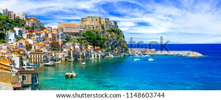 beautiful beaches and towns of Calabria - medieval Scilla with old castle. Italian summmer holidays