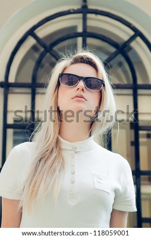 Beautiful blonde in sunglasses