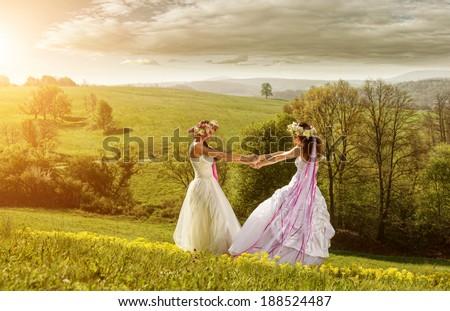 2 beautiful bride in the morning , the idyllic meadow , friendship symbol
