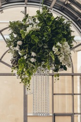 beautiful chandelier with live plants