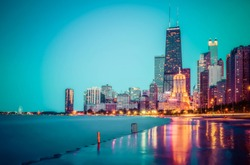 beautiful Chicago skyline at twilight with reflection concrete beach.