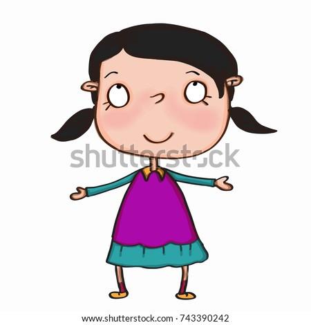 beautiful cute black hair girl looking up  Stok fotoğraf ©