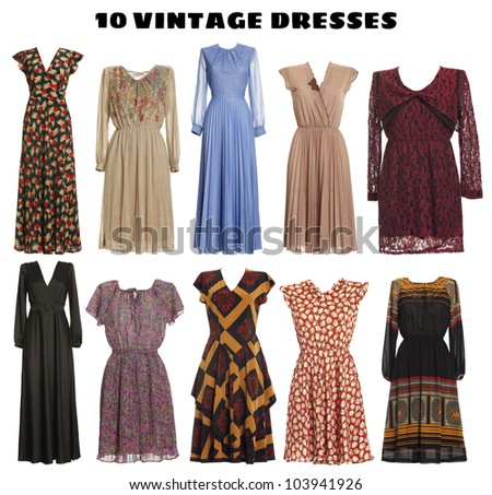 10 beautiful Dresses isolated - Vintage look