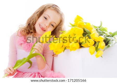 beautiful girl with a bouquet of yellow tulips. Isolated on white background. smiling, close-up, on March 8, International Women's Day, Mother's Day #171205166