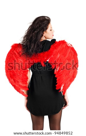 Beautiful girl with red angel wings isolated on white - stock photo