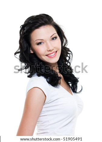 Beautiful happy woman with tothy smile - on  white background