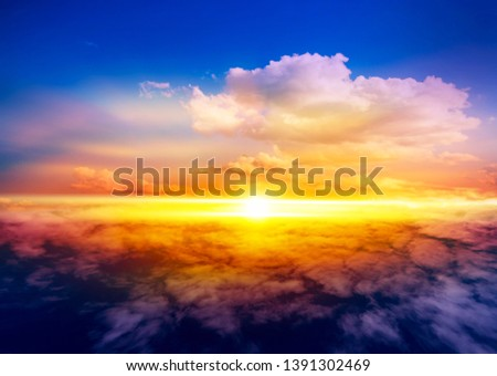 Beautiful heavenly landscape with the sun in the clouds . View of clouds from high altitude . Paradise heaven  . light about the sky . #1391302469