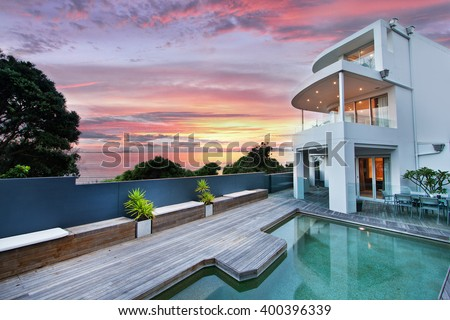 beautiful house with swimming pool in the yard