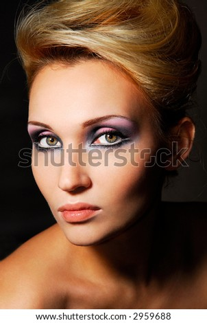 Beautiful lady, beautiful make up and bright colore