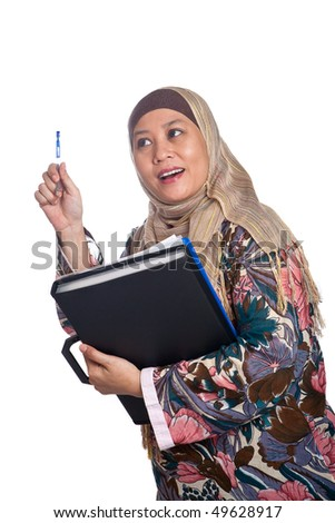 stock photo  beautiful mature muslim woman in thinking pose with files and books in hand 49628917 stock photo : Beautiful mature Muslim woman in scarf. Save to a lightbox ▼