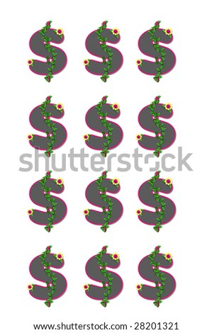 """Beautiful Money"" is illustrated by a page full of dollar signs decorated with flowers and ivy."