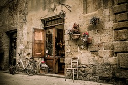 Beautiful old town of Pienza in Tuscany.  Vintage photo. Italy