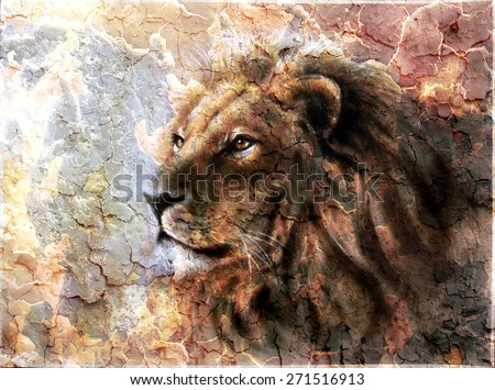 beautiful  painting of a lion head with a majesticaly peaceful expression desert pattern.