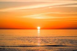 Beautiful red sunset at sea.