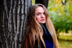 Beautiful Russian girl shoot for autumn, Blue eyes blonde hairs, portrait shoot