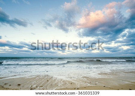 Beautiful sea landscape in early morning mist against the background of dramatic cloudy sky at sun rise time. Cuba coast. #361031339