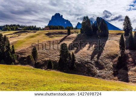 Beautiful sunny day for hiking and taking photos. Powerful ridge of rocks on the horizon. Val Gardena, Italy. Alpe di Siusi is charming plateau in the Dolomites. The concept of ecological  tourism