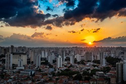 Beautiful sunset in the city of São Paulo, Mooca neighborhood. Colored sky.