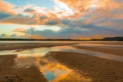 Beautiful sunset on the shells beach
