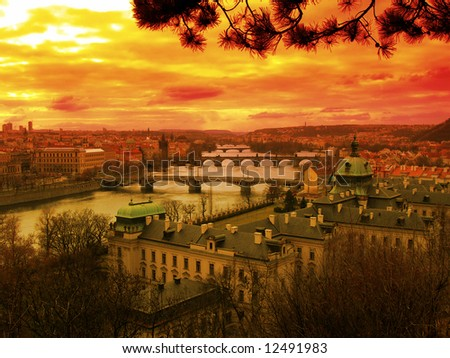Beautiful sunset over river Vltava in Czech capital city Prague - stock photo