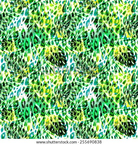 Beautiful trendy seamless tropical jungle floral pattern background with palm leaves and plants, exotic animal print