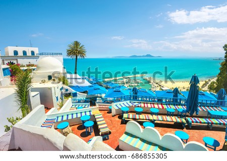 Beautiful view over of seaside and white blue village Sidi Bou Said. Tunisia, North Africa #686855305