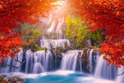 Beautiful waterfall in autumn,teelorsu waterfall in Thailand