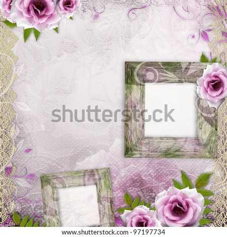 ... wedding background with frames and purple roses - stock photo