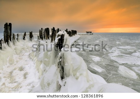 Beautiful winter landscape, and the Baltic Sea