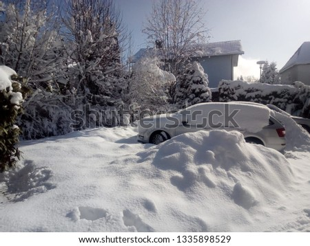 Beautiful winter picture with a snow cover that has wrapped a car outdoors