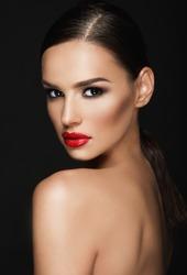 Beautiful woman portrait, beauty on dark background