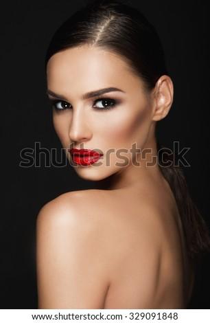 Beautiful woman portrait, beauty on dark background #329091848