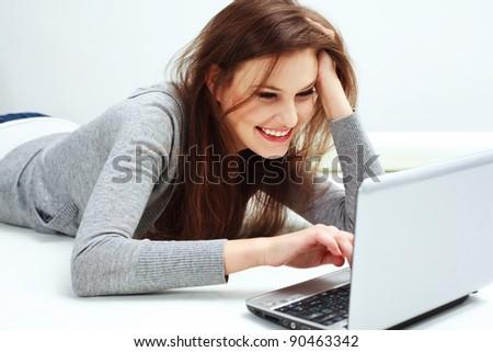 Beautiful  Woman Using Laptop. Online Shopping