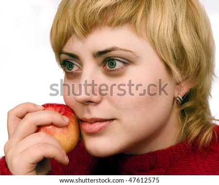 beautiful woman with apple isolated over white