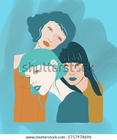 3 beautiful woman with blue tones Foto stock ©