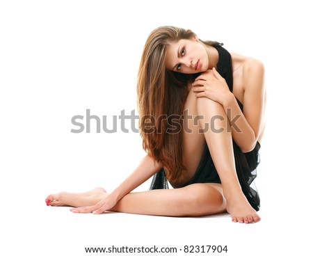 Beautiful woman with magnificent hair - stock photo