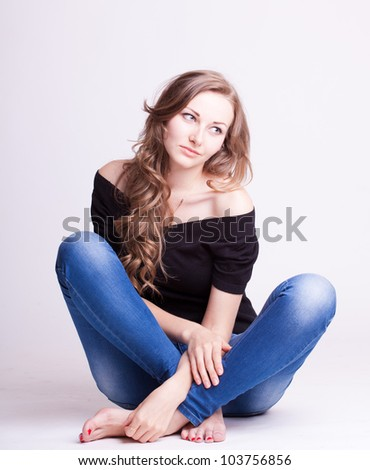 beautiful young girl in jeans, natural style