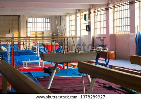beauty acrobatic with gymnastic equipment – balance beams, bars and pommel horse