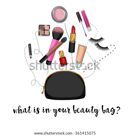 Beauty bag with make up and cosmetics